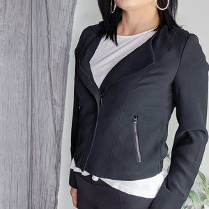 LOFT crepe moto jacket black career classic